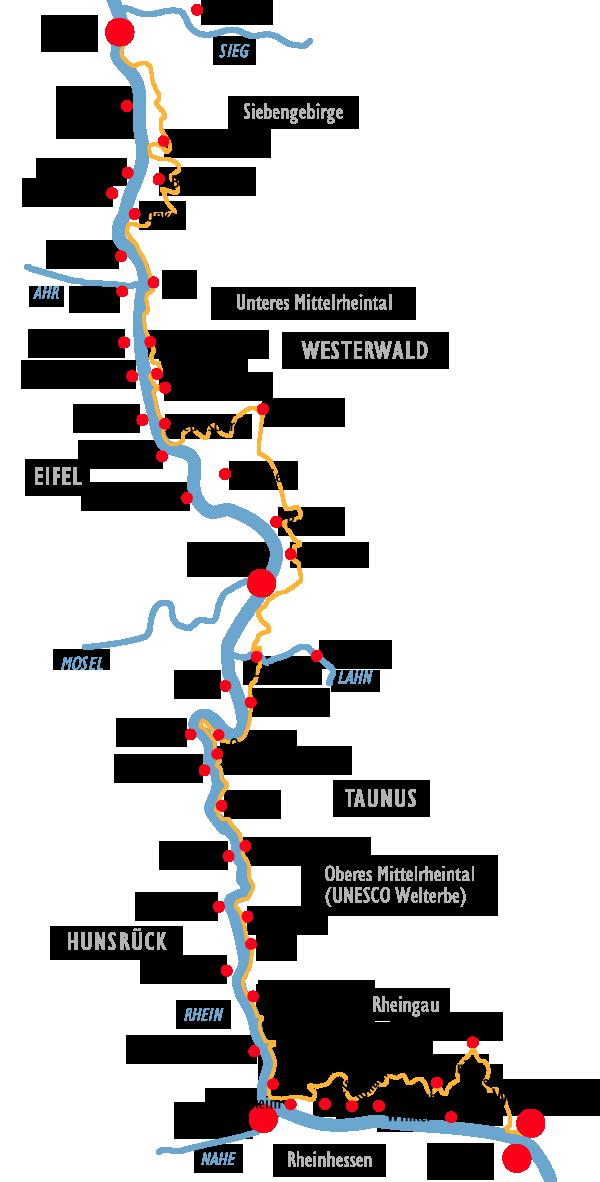 Etappen Rheinsteig Rheine Fahrradurlaub Boppard