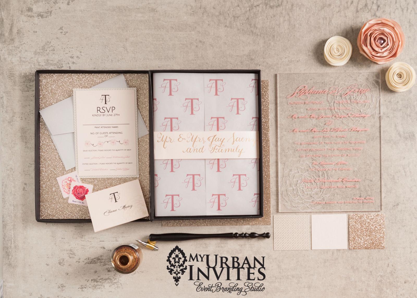 Acrylic, seethrough wedding invitation. Glitter, acrylic