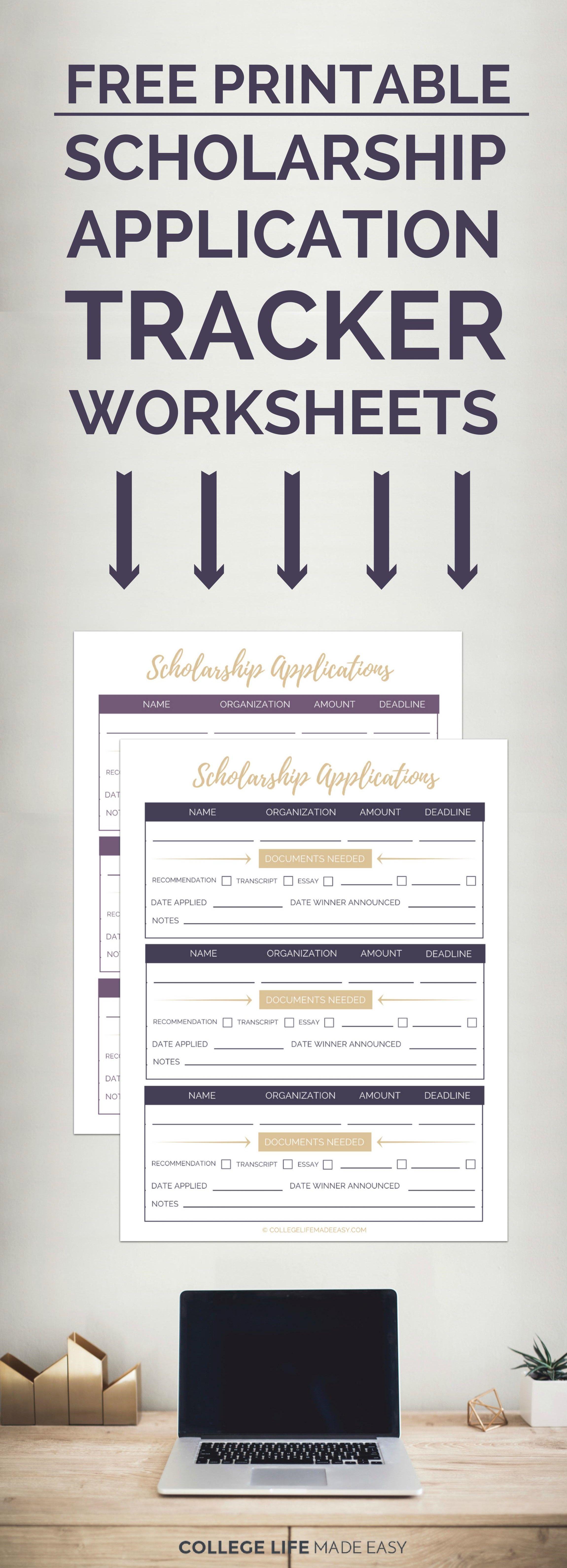 Free Printable Scholarship Application Tracker Worksheets
