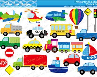 Trains Planes And Trucks Clipart Transportation Primary Colors