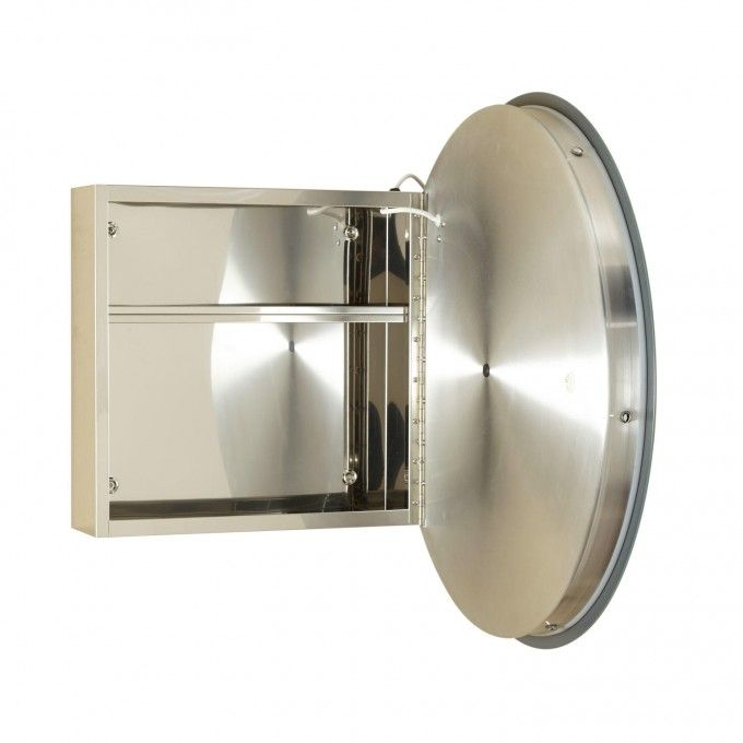 Lucent Round Stainless Steel Medicine Cabinet With Lighted Mirror