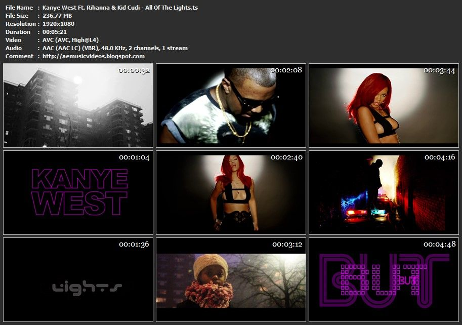Kanye West Ft Rihanna Kid Cudi All Of The Lights Tidal 1080p High Quality Music Videos Kanye West Rihanna Music Videos
