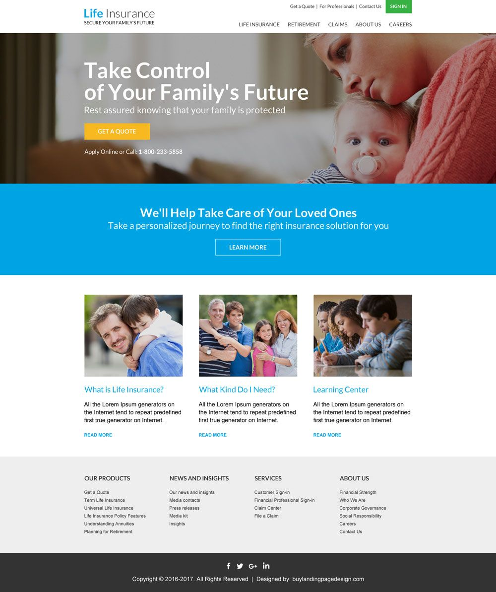 Life Insurance Free Quote Professional Life Insurance Responsive Website Design  Html