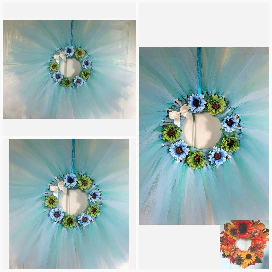 Pastel blue and green floral wreath #HomeDecor #HandmadeWreath #FlowerWreath #WallSigns #BlueWreath #FrontDoorWreath #AutmnalDecor #FlowerDecor #NaturalWreath #GreenWreath