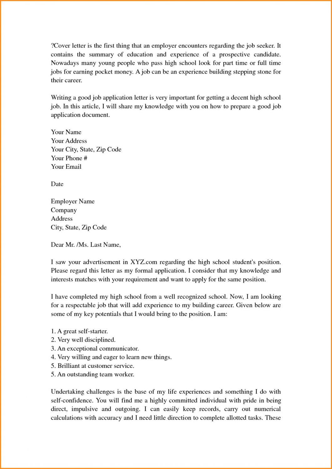 Cover Letter Template High School Resume Format Cover Letter For Resume Resume Cover Letter Examples High School Resume
