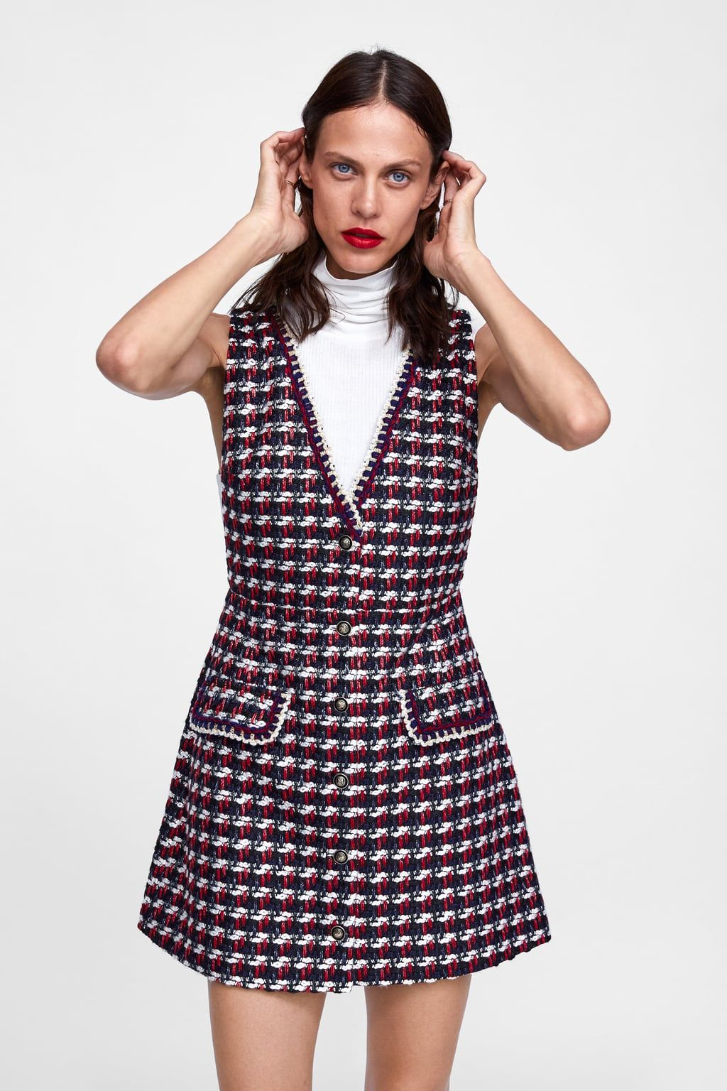 e2562c8c Textured dress with trims in 2019 | Returning to work | Dresses ...