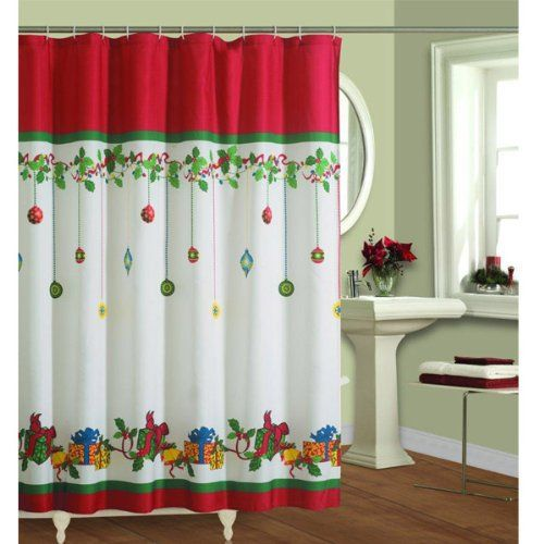 Christmas #bathroom Christmas shower curtains are easy to install