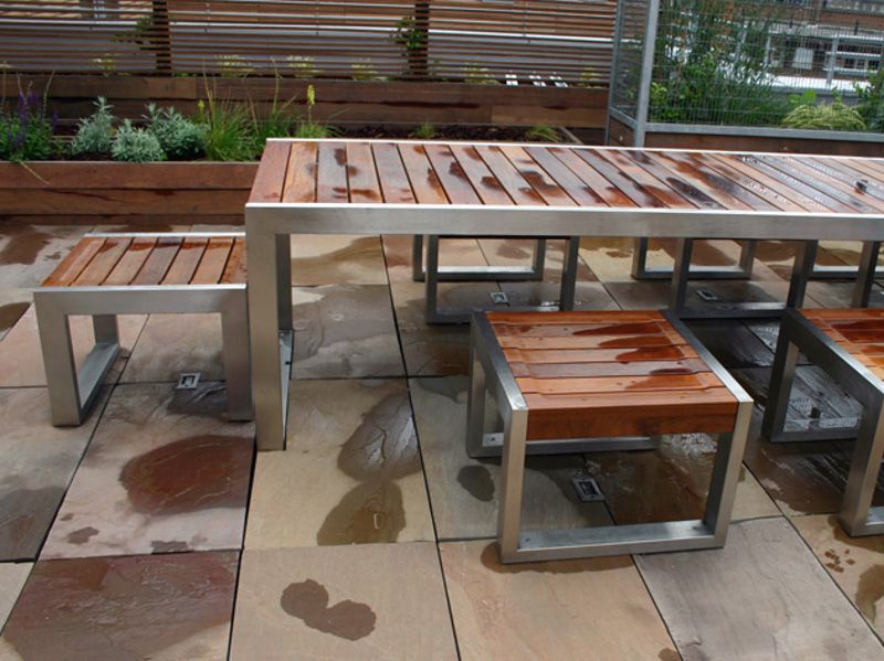 steel and wood outdoor tables google search - Garden Furniture Steel
