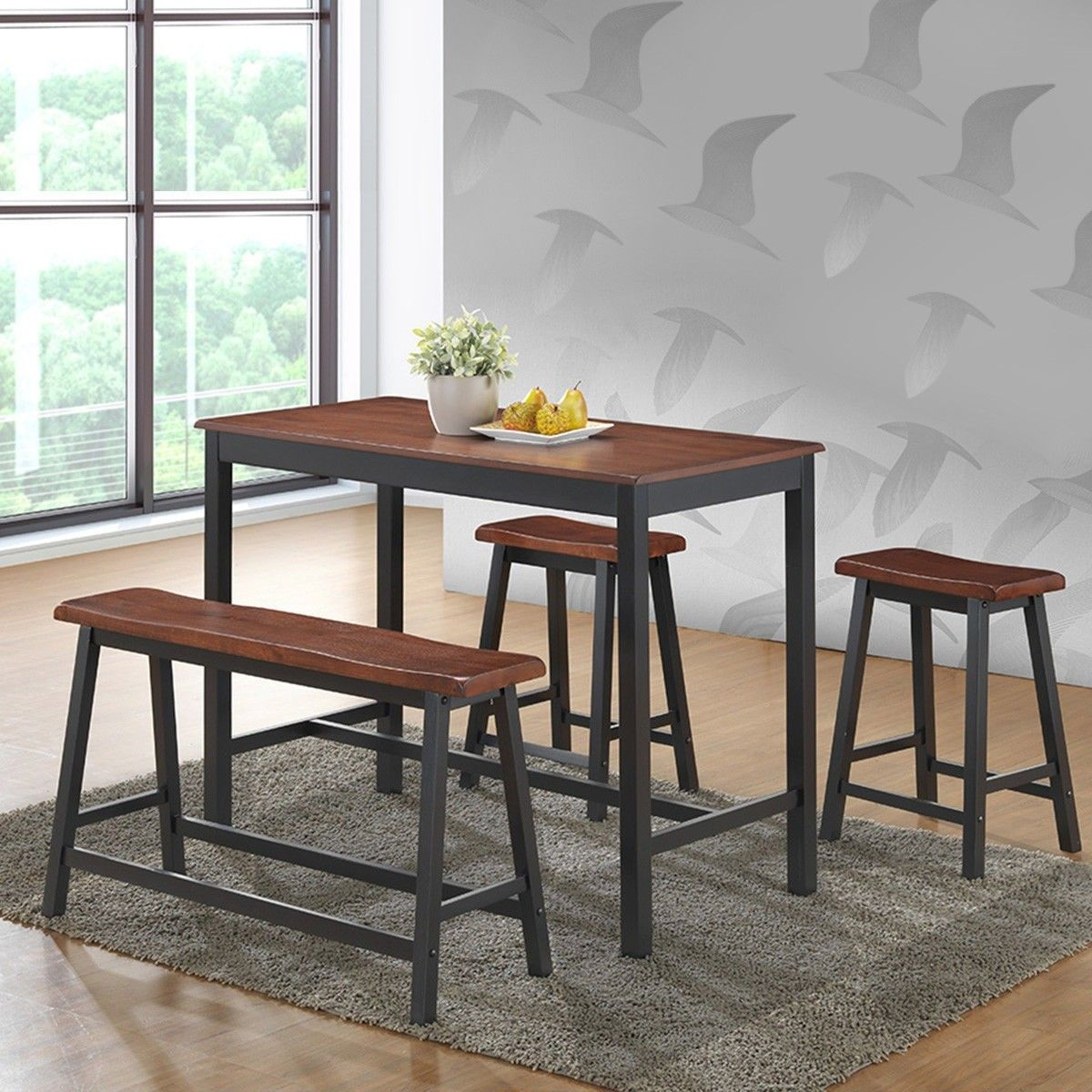4 Pcs Solid Wood Counter Height Dining Table Set Counter Height