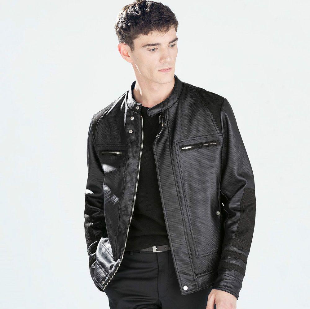 ee2df226 ZARA Man BNWT Black Embossed Faux Leather Biker Jacket Coat 5475/302 RRP  £79.99