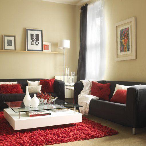 Rojo y blanco cojines sobre gris pinterest cojines for Sofa gris y blanco
