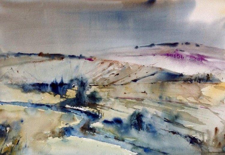 Paisaje (Pintura),  70x50 cm por Jacques Villares Paisaje inventado en un 90%. Una mirada a una imagen y a pintar. Mucha agua, pigmento puro trabajado por momentos con una espátula pequeña. Trabajo de síntesis, de luz.  Papel Arches de 300 gr. y grano grueso.