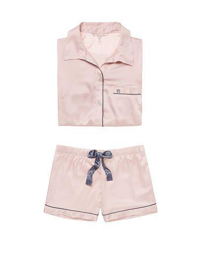 6f2ff1a699 Victorias Secret Satin Boxer PJ in Sheer Pink