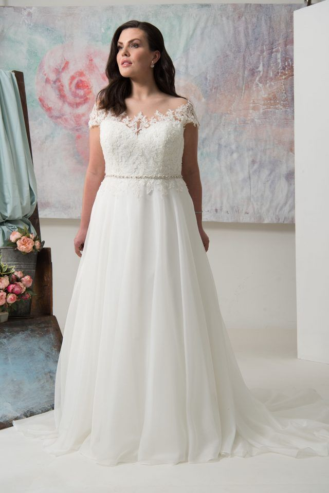 A-line Illusion Neck Cap Sleeve Plus Size Wedding Gowns For Big ...