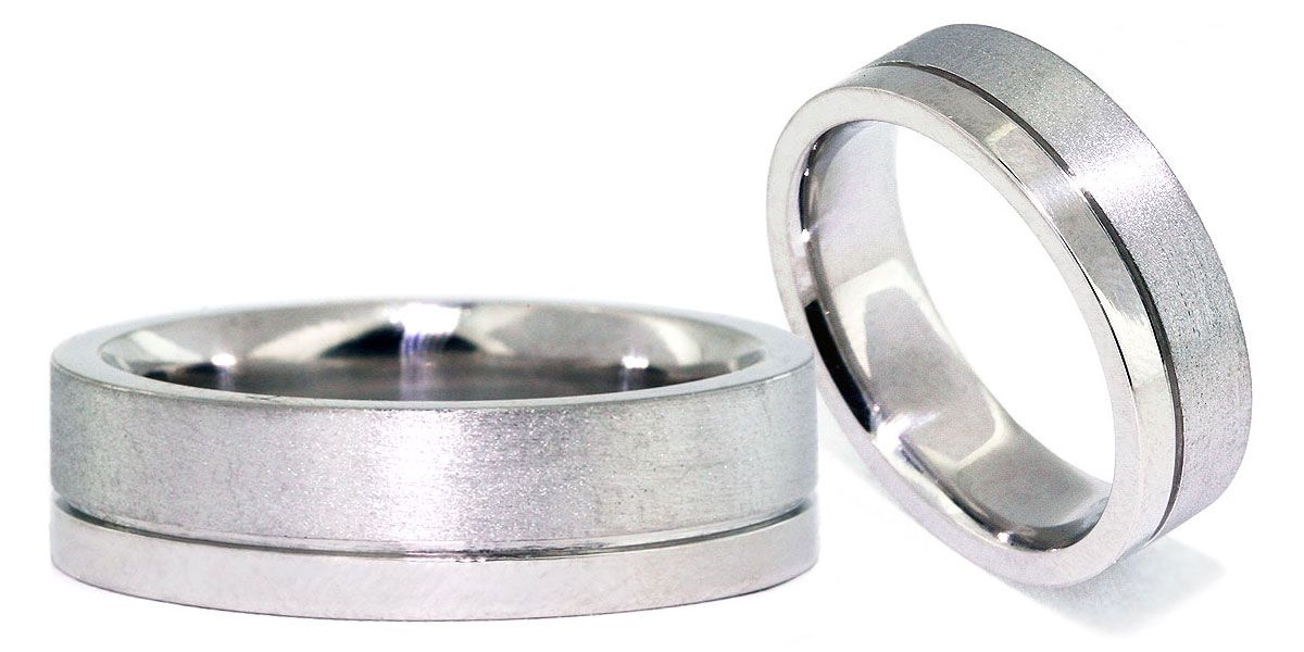 Modern Custom Mens Wedding Band Made In Platinum Features A Indented Line  At 2/3 Of The Way Down The Shank Separating The Satin Finished Section From  The ...