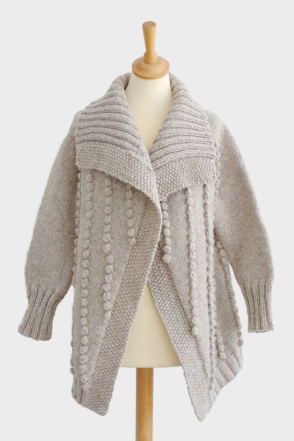 Cotton Cloud Bobble Cardigan Knitting Pattern Modern