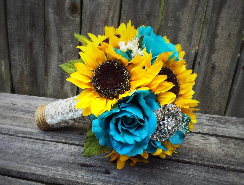 Sunflower Bouquet Turquoise Sunflower Bouquet Sunflower Bridal