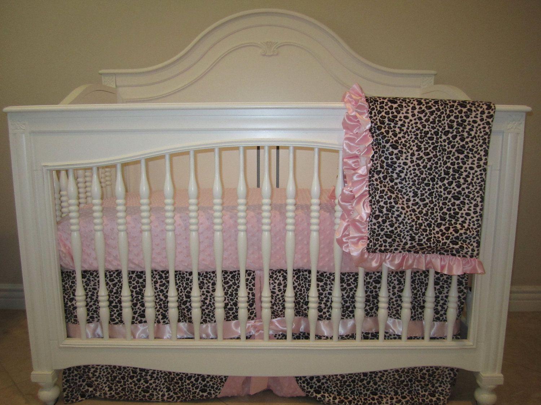 Pink Leopard Baby Bedding Set 3 Piece Crib No Per 250 00 Via Etsy