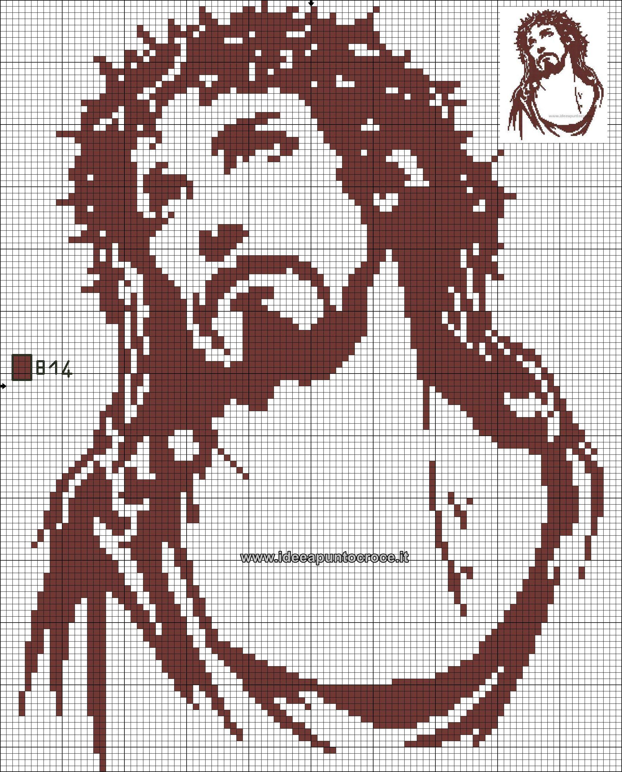 Passione di cristo monocolore schema punto croce volto for Immagini di punto croce