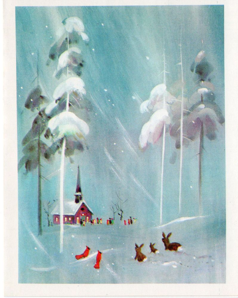 Unused Vintage Christmas Card Atmospheric Church with