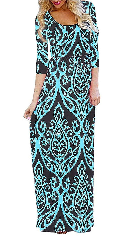 Bluetime womenus sleeve bohemian floral empire waist flowy maxi