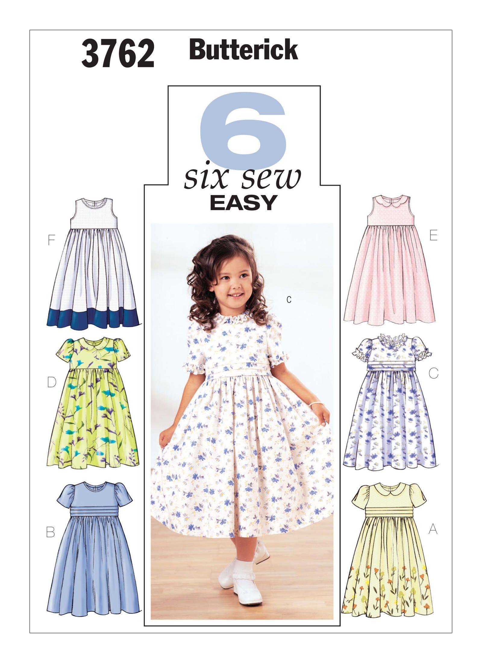 B3762 butterick patterns childrens and girls empire waist butterick sewing pattern childrens and girls empire waist dresses jeuxipadfo Gallery