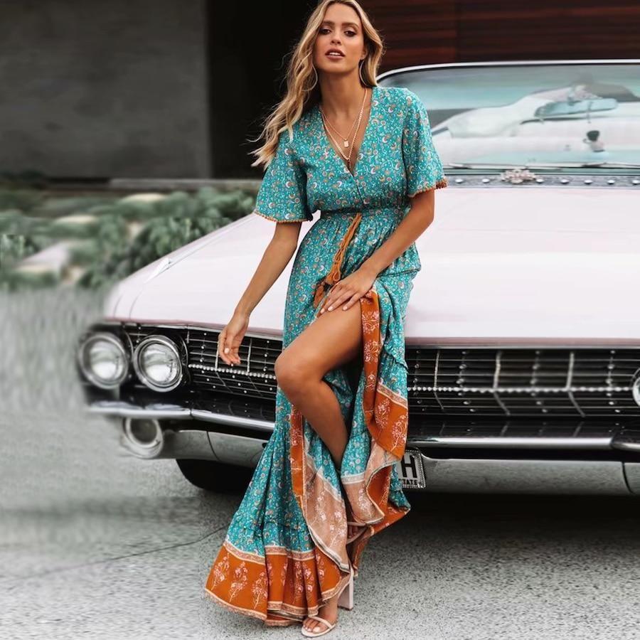 Maxi Dresses Vintage Floral Print Bohemian Maxi Dress Maxi Dress With Sleeves Style Maxi Dress [ 900 x 900 Pixel ]