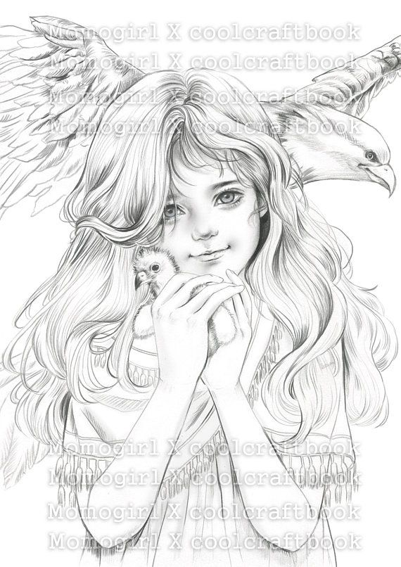 Digital : Eagle girl by M O M O G I R L   Cartoon drawings