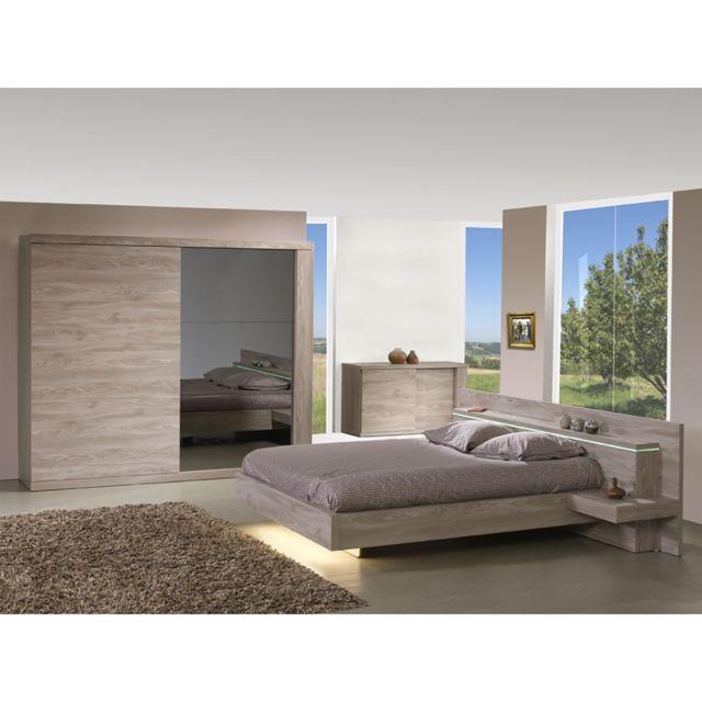 Altobuy Memphis - Chambre 180x200 avec Armoire 2 Portes 220cm - schlafzimmer set 180x200