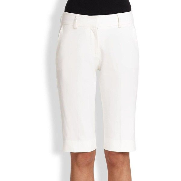 Piazza Sempione Cotton Walking Shorts (€295) ❤ liked on Polyvore featuring shorts, apparel & accessories, optical white, white shorts, zipper shorts, white tailored shorts, stretch shorts and walking shorts