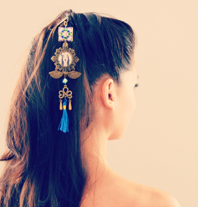 Pic à cheveux chinois à pompon bleu, métal bronze illustré