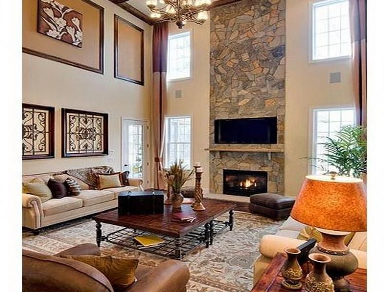 Simple Modern 2 Story Family Room Decorating Ideas I Like The Decor But Traditional