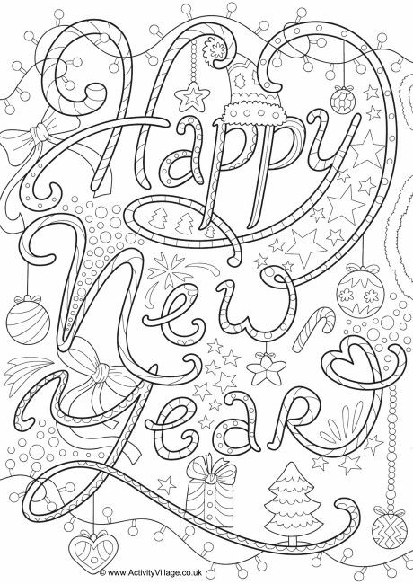 Happy New Year Doodle Colouring Page New Year Coloring Pages New Year Doodle Coloring Pages