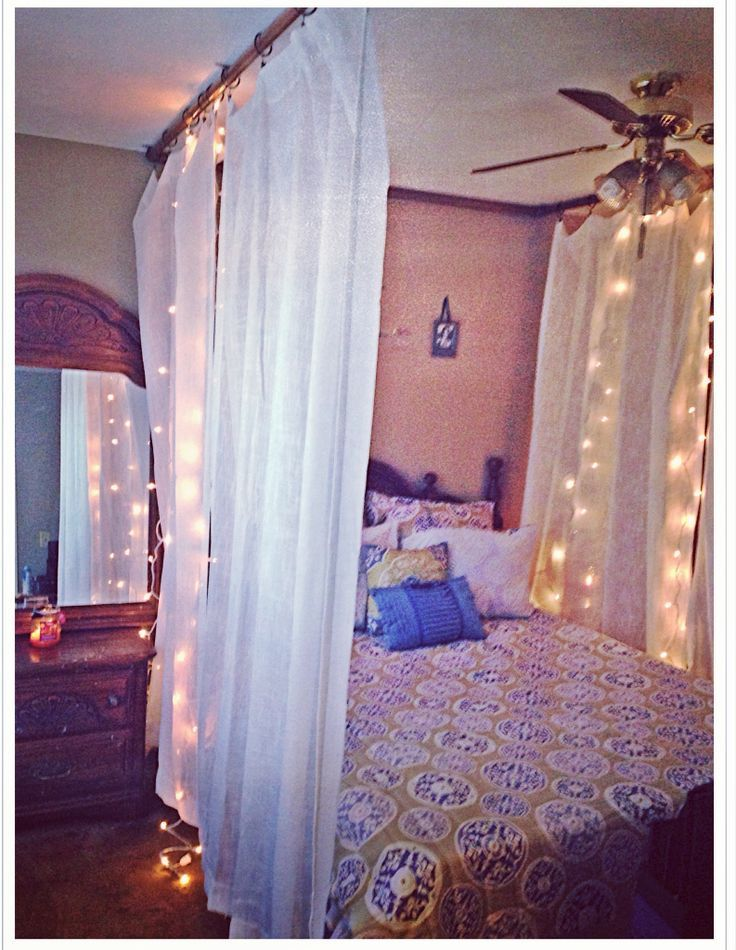 Ceiling Mounted Bed Canopy | DIY ceiling mounted bed canopy I made using  PVC pipe &