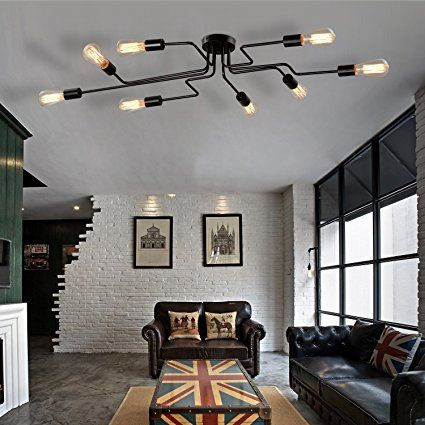 Unitary Brand Black Metal Steel Art Dining Room Flush Mount Ceiling Light With 8 E26 Bulb