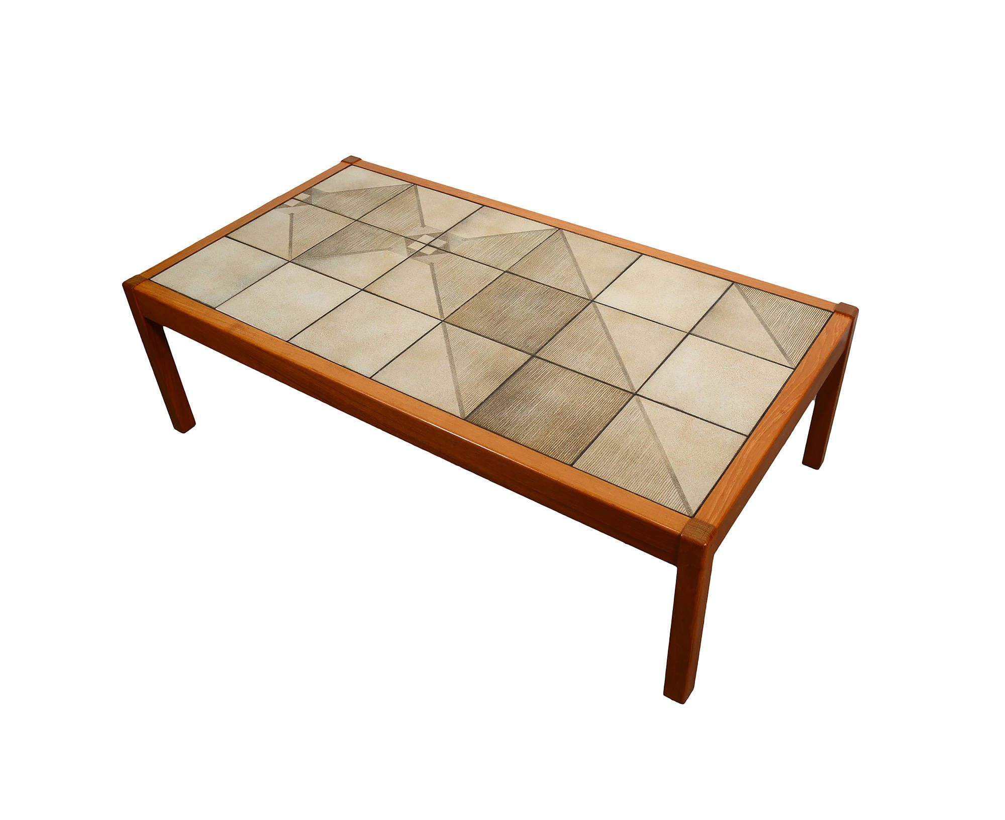 Teak Coffee Table with Tile Top Sofa Table Danish Modern Gangso
