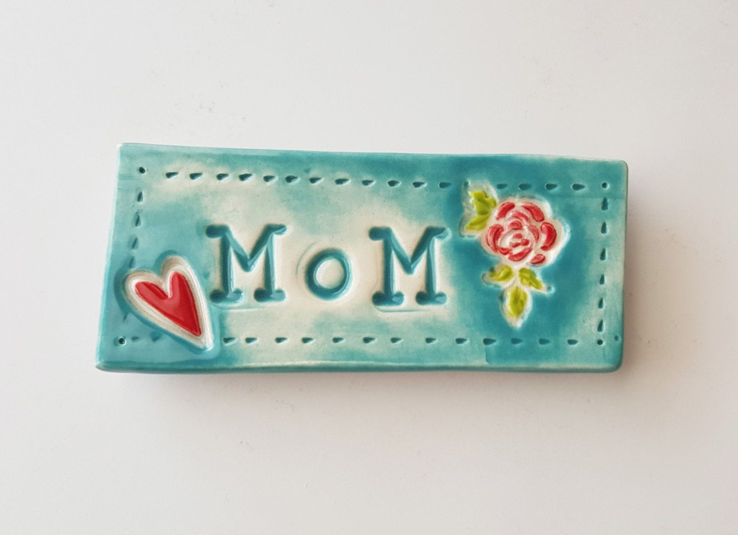 Ceramic Name Tag | MoM | Magnet for Mom | Made to Order | Clay ...