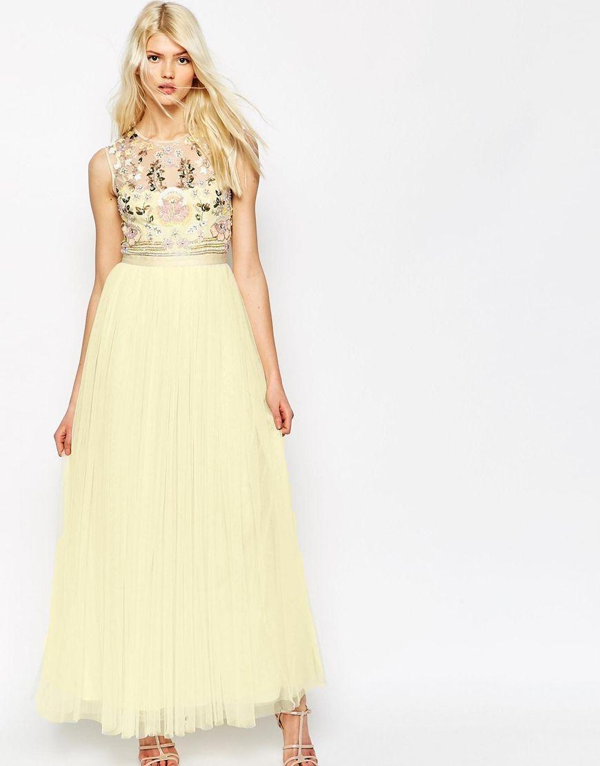 Image of needle u thread foliage cluster tulle maxi dress our