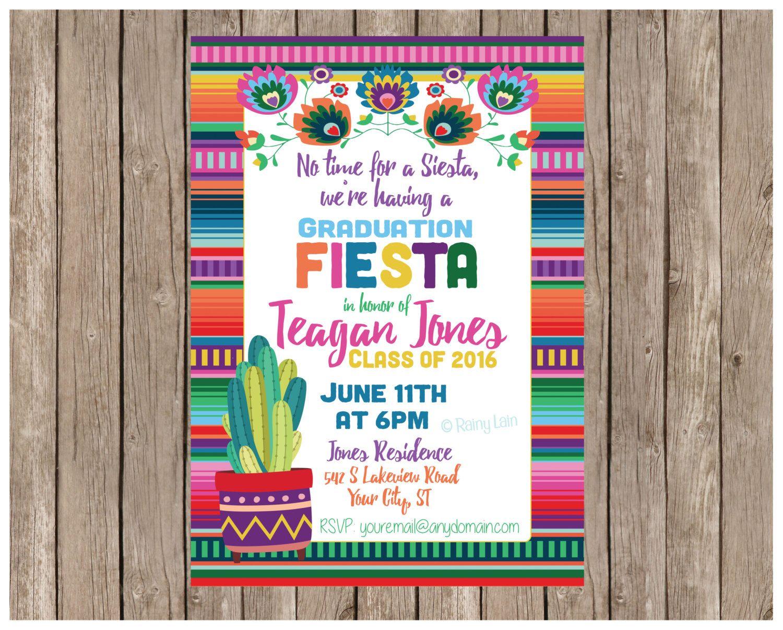 Fiesta Graduation Invitation, Printable Fiesta Invite, Fiesta ...