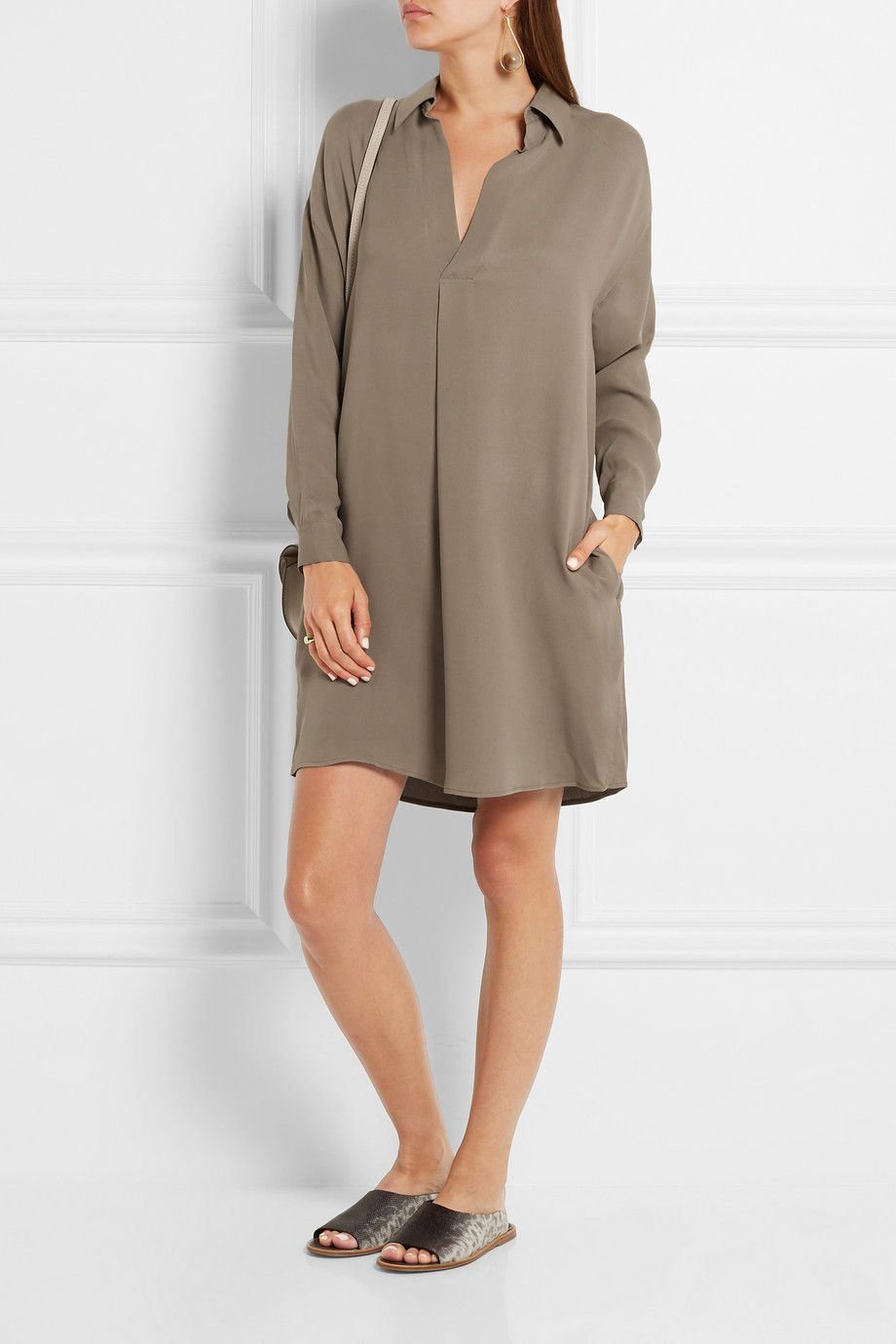 Vince | Washed-silk dress | NET-A-PORTER.COM