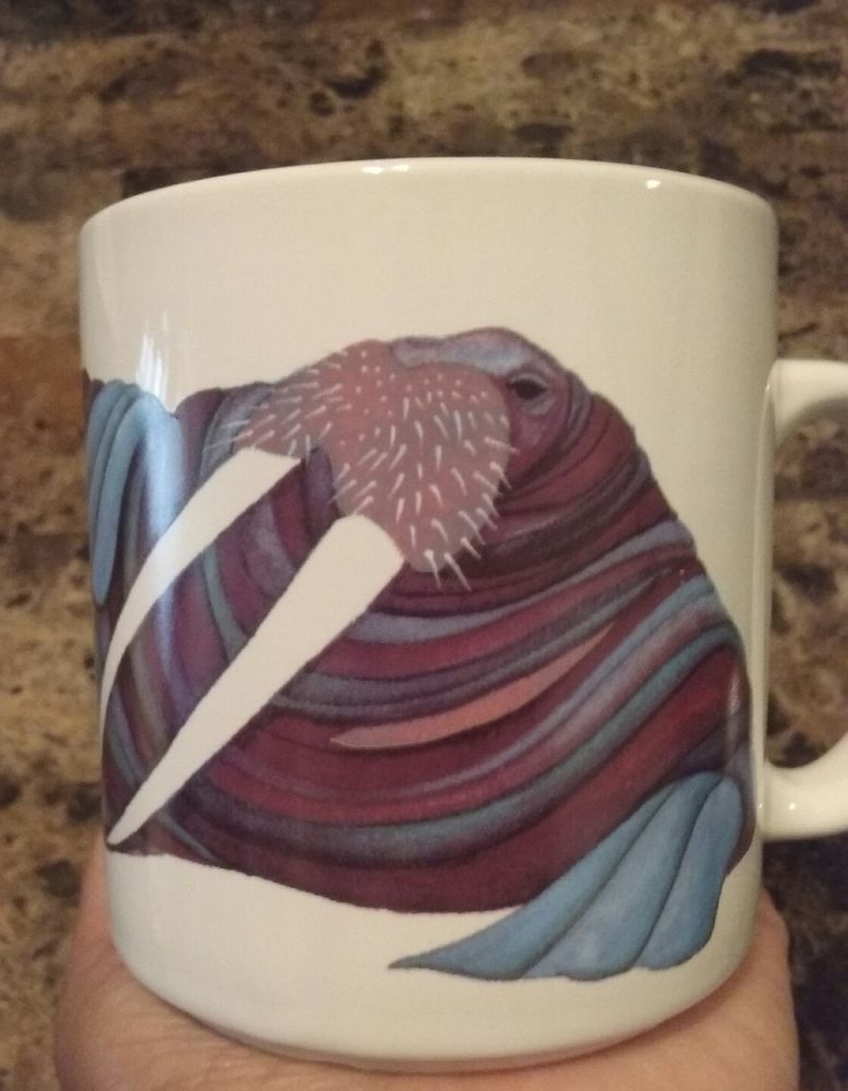 Artist Barbara Lavallee Lounging Walrus Coffee Mug Cup 1991 Anchorage Alaska Mugs Coffee Mugs Anchorage Alaska