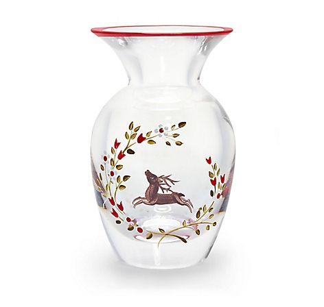 Kleine Vase aus klarem Glas mit filigraner Bauernmalerei, aus der Glasstadt Rattenberg– jetzt bei Servus am Marktplatz kaufen.