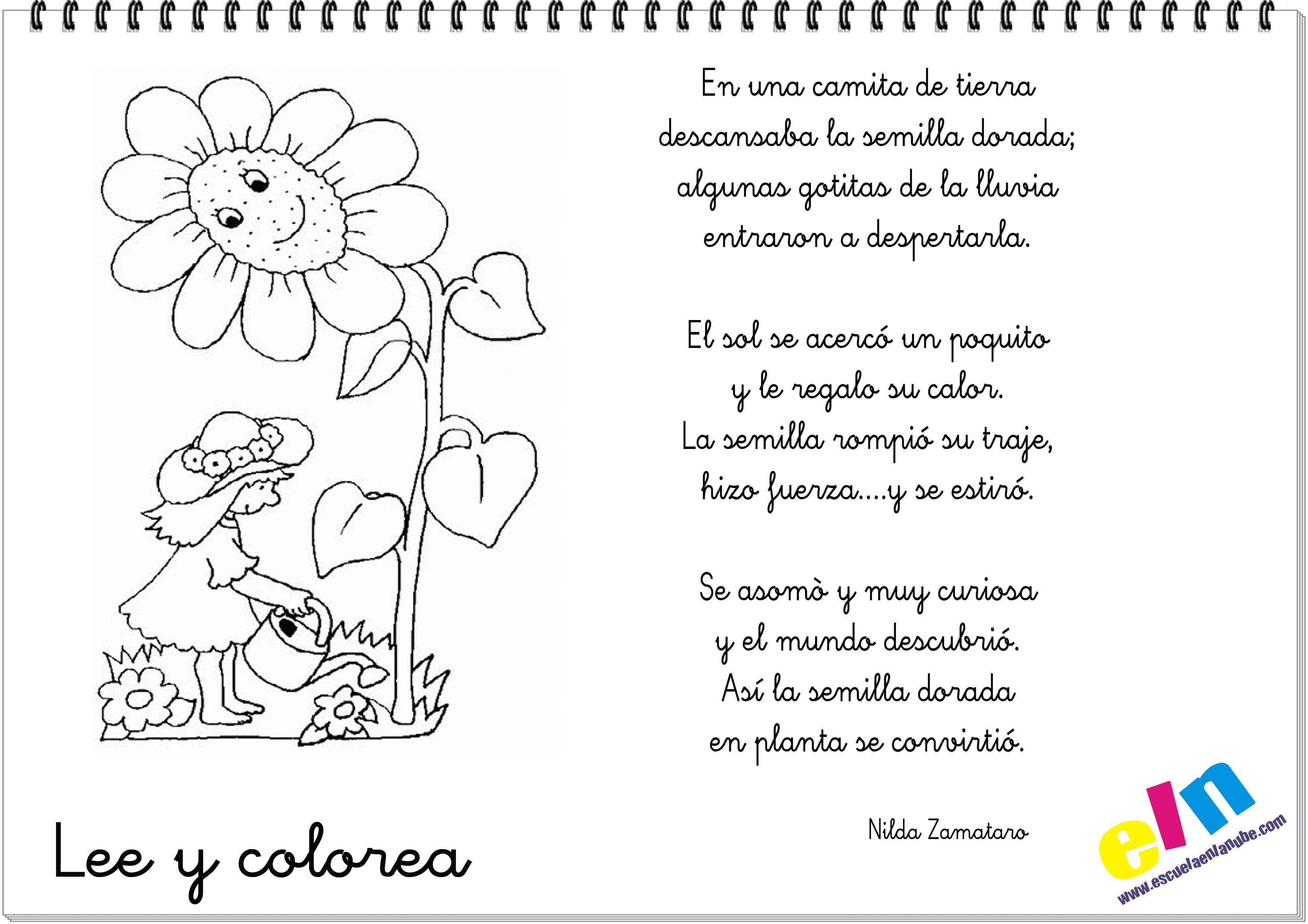 Lee y colorea poemas de la primavera | cole | Pinterest | Poemas de ...