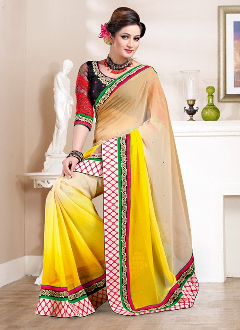 Yellow colour saree images product code   price   inr  things to wearsarees