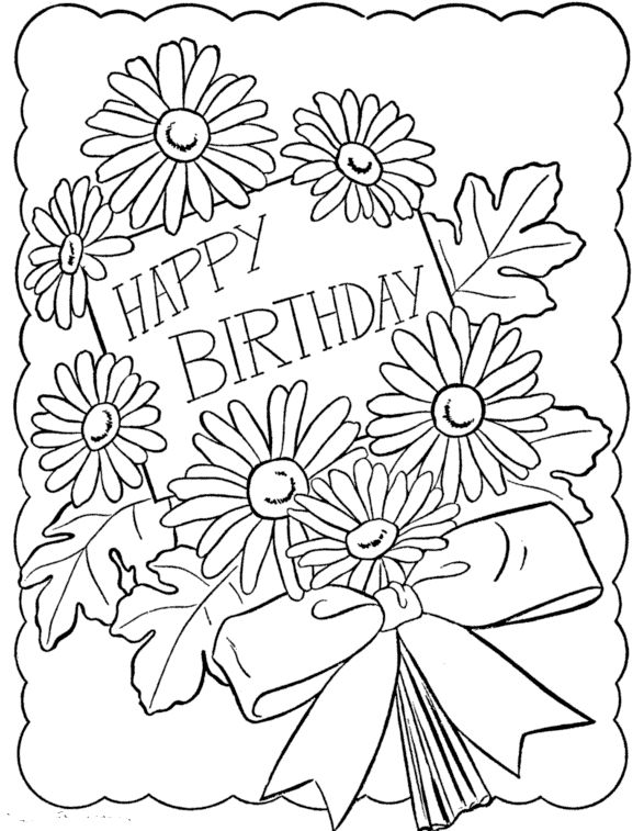 Printable Happy Birthday Coloring Cards Coloring Pages Pinterest