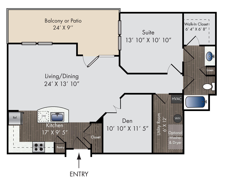 The Hudson [1030 sq.ft] 1bed/den + 1bath Den room, Floor