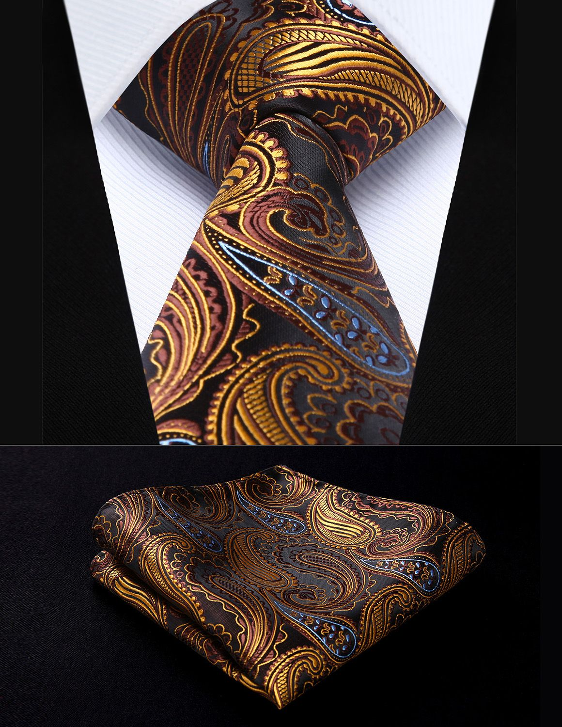 af0fc8e45a0a Brown Tie, Orange Brown, Brown Suits, Tie Set, Tie And Pocket Square