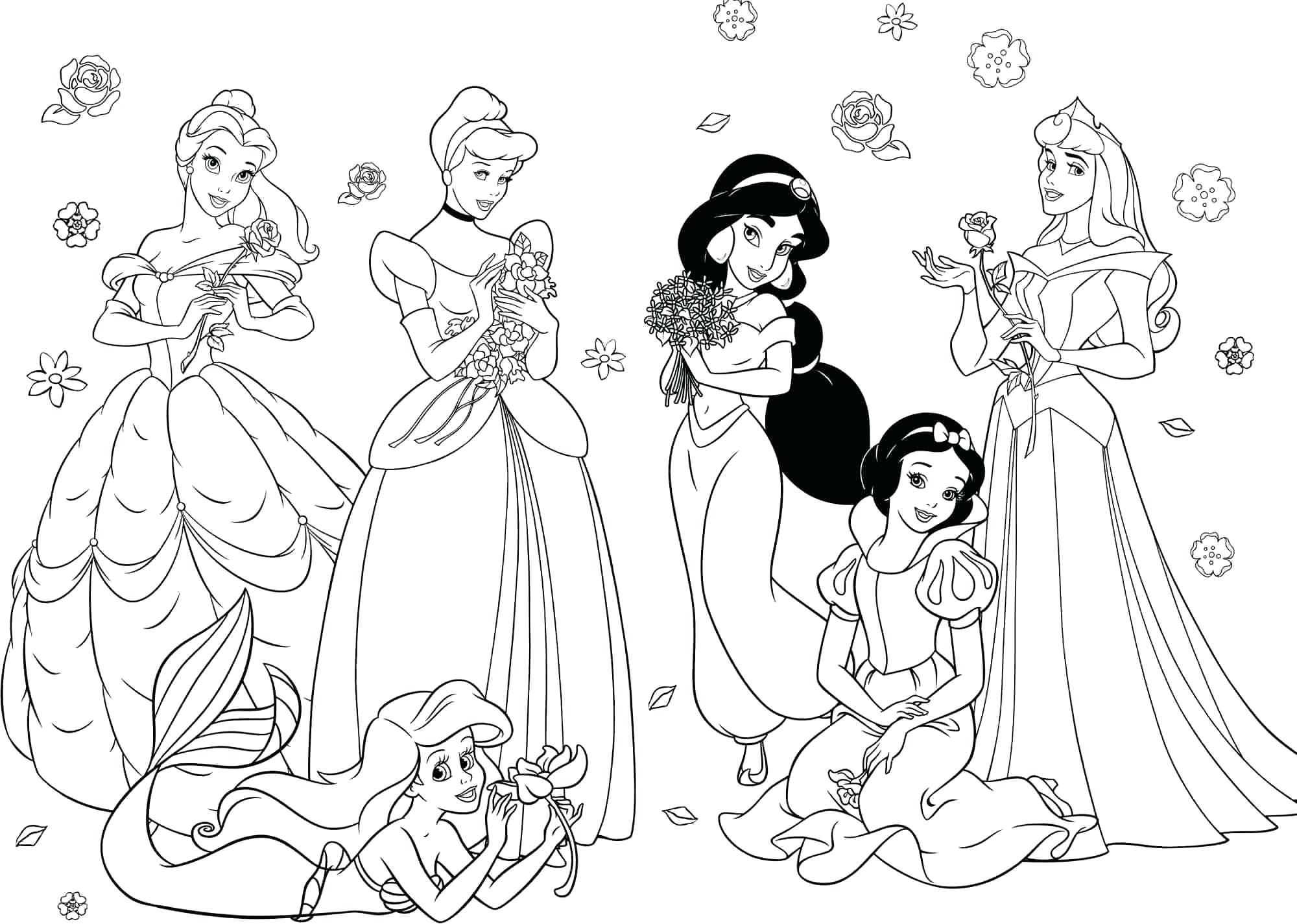 Disney Coloring Princesses Coloring Pages Allow Kids To Accompany Their Favori Disney Princess Coloring Pages Disney Princess Colors Princess Coloring Pages