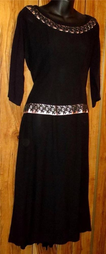Vintage Black Dress W/Pink Floral Collar and Waist Size 8  3/4 Sleeve Cocktail #Unknown