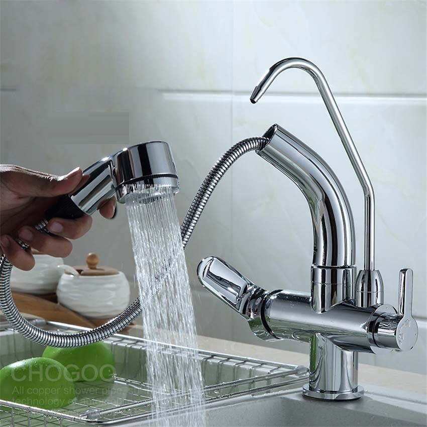 HY-85 Pull Out Spray Pure Water 3 Way Double Faucet Tap Filler ...
